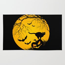 happy halloween graphic illustration Rug