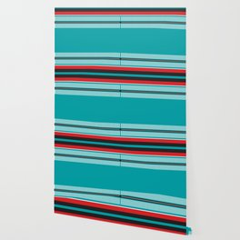 Geometric Pattern #202 (red and teal) Wallpaper