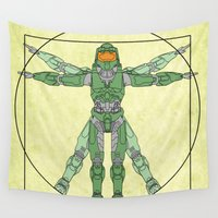 halo Wall Tapestries featuring vitruvian Halo by tshirtsz