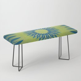 Bright Lime Green and Blue Mandala Bench