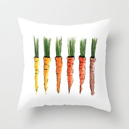 Happy colorful carrots Throw Pillow