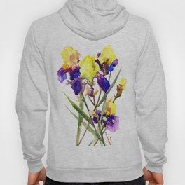 Garden Iris Floral Artwork Yellow Purple Blue Floral design, bright colored floral design Hoody