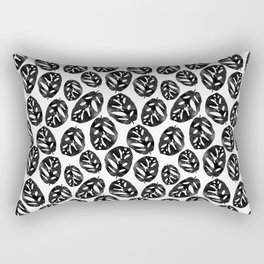 Monstera obliqua linocut black and white minimal house plants cute zen vibes yoga art Rectangular Pillow