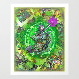 Rick & M - Dungeons and Dragons Comic Collage Portal Comic Book Art Art Print