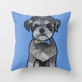 Gus the schnauzer mix Throw Pillow