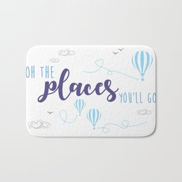 OH THE PLACES YOU'LL GO - HOT AIR BALLOON BLUE Bath Mat