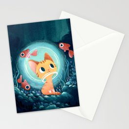 Ginger cat and fishes Stationery Cards