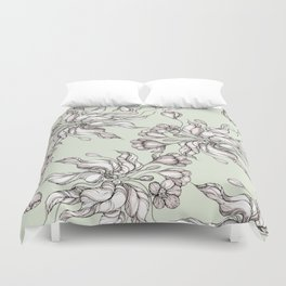 Vintage floral seamless pattern with hand drawn flowering crocus Duvet Cover