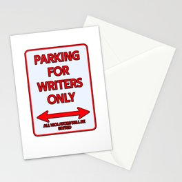Writer Parking sign Fiction Stationery Cards