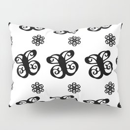 Swirly Butterflies and Flowers Pattern Black on White Pillow Sham