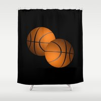 basketball Shower Curtains featuring Basketball Design  by Leatherwood Design