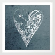 Ornament zentangled heart Art Print