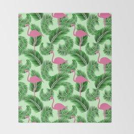 Flamingo tropical pattern Throw Blanket