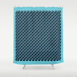 3D Cube Drawing Pattern - Blue & Green Shower Curtain