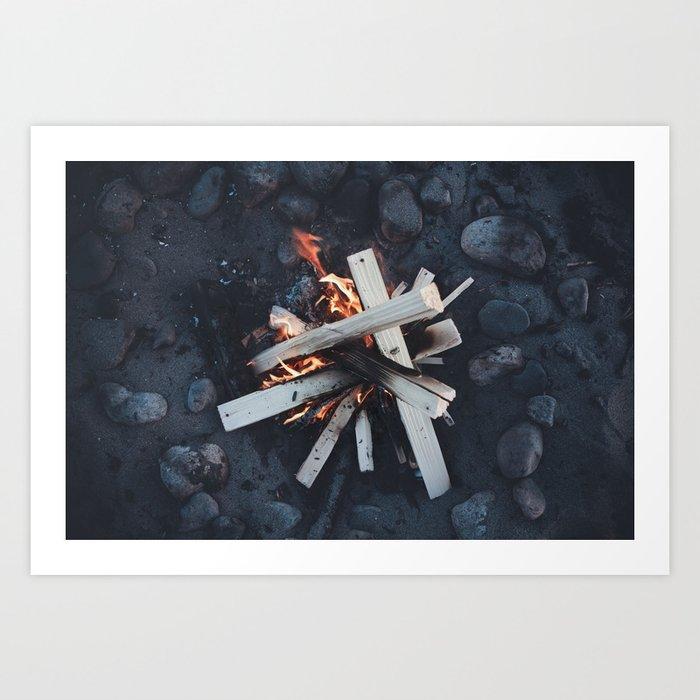 Beach Bonfire Art Print