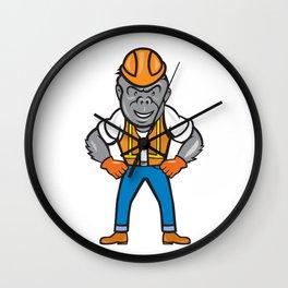 Angry Gorilla Construction Worker Cartoon Wall Clock