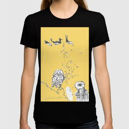Two Tailed Duck and Jellyfish Pale Yellow Mellow T-shirt
