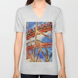 Fun on the roller coaster, close up Unisex V-Neck