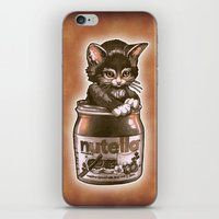 nutella iPhone & iPod Skins featuring Kitten Loves Nutella by Tim Shumate