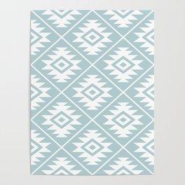 Aztec Symbol Ptn White on Duck Egg Blue Poster