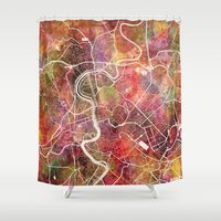 rome Shower Curtains featuring Rome by MapMapMaps.Watercolors