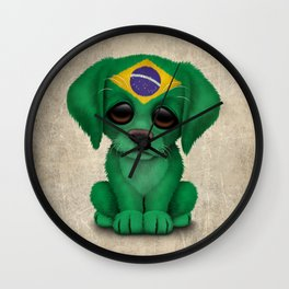 Cute Puppy Dog with flag of Brazil Wall Clock