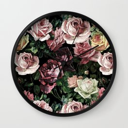 Vintage & Shabby chic - dark retro floral roses pattern Wall Clock