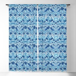 Art Nouveau Bird and Flower Tapestry, Blue and White Blackout Curtain