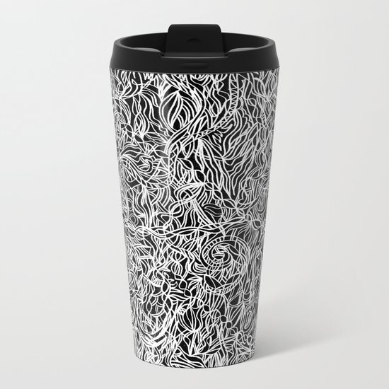 White and Black Metal Travel Mug