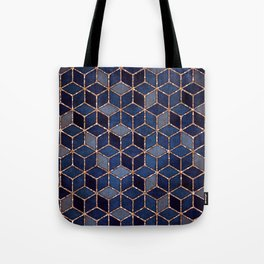 Shades Of Purple & Blue Cubes Pattern Tote Bag