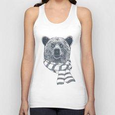 Winter Bear Drawing Unisex Tank Top