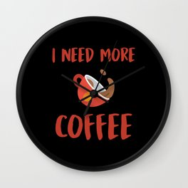 I Need More Coffee Wall Clock