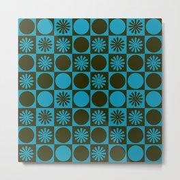 Retro Checkered Pattern (Muted Blue / Dark Green) Metal Print