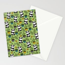 Little Panda Print, Baby Panda, Panda Bear, Boho Panda, Succulents and Flower Stationery Cards