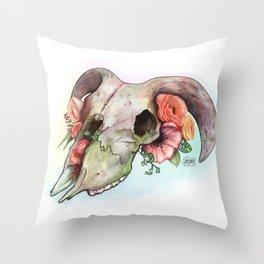 Goat skull & flowers Throw Pillow
