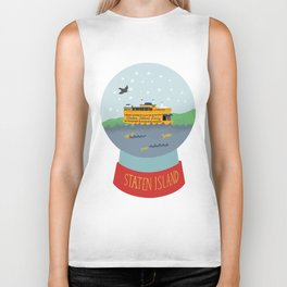 Staten Island Ferry, Snow globe, souvenir, new york city, nyc Biker Tank