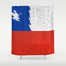 Extruded Flag of Chile Shower Curtain
