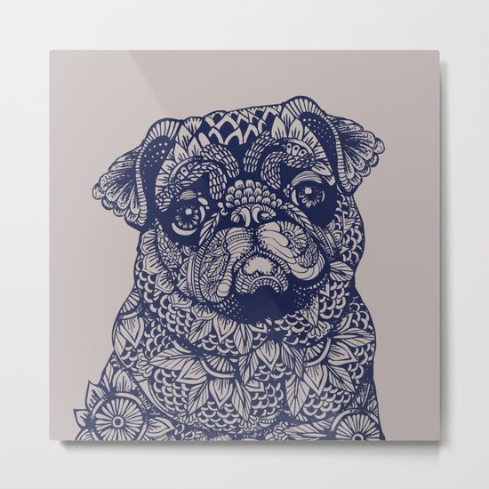MANDALA OF PUG Metal Print