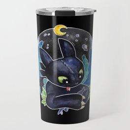Baby Toothless Night Fury Dragon Watercolor black bg Travel Mug