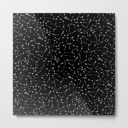 Zodiac Star Constellations Pattern Metal Print