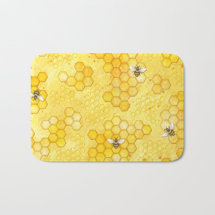 Meant to Bee - Honey Bees Pattern Bath Mat