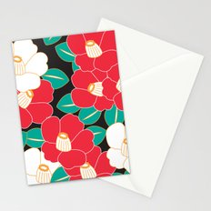 Japanese Style Camellia - Red and Black Stationery Cards