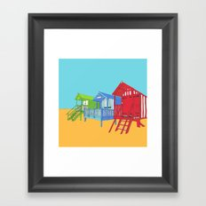 Thoughts of Summer // Beach Huts Framed Art Print