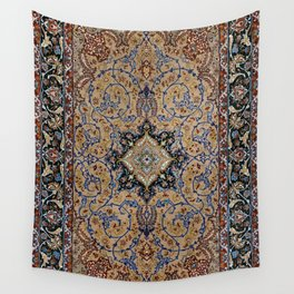 Central Persia Isfahan Old Century Authentic Colorful Golden Yellow Blue Vintage Patterns Wall Tapestry