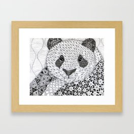 Panda with Black Eyes Framed Art Print