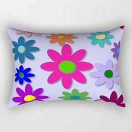 Flower Power - Light Purple Background - Fun Flowers - 60' Hippie Syle Rectangular Pillow