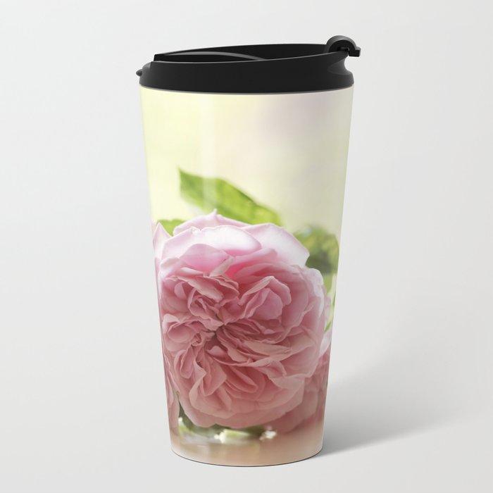 Wonderful pink Roses in LOVE - Vintage Rose Stilllife Photography Metal Travel Mug