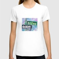 broadway T-shirts featuring Broadway Sign by Dorrie Rifkin Watercolors