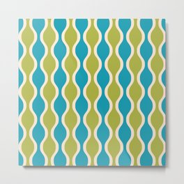 Classic Retro Ogee Pattern 852 Turquoise and Olive Metal Print