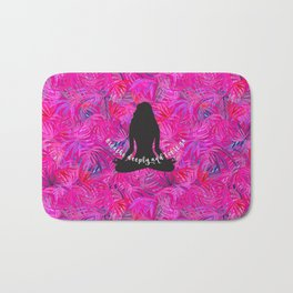 Yoga Lotus Pink Tropical Motivational Quote Bath Mat